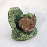 Vintage Bisque Porcelain Rabbit or Hare in Cabbage Leaves