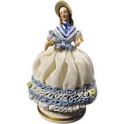 Vintage Signed Muller & Co. Dresden Porcelain Lace Lady Figurine