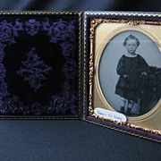 Antique Union Case Folding Picture Frame with Ambrotype Photograph