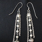 Vintage Long Dangle Sterling Silver & Faux Pearl Heart Earrings