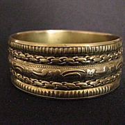 Vintage Wide Brass Bangle Bracelet