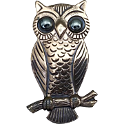 Vintage Signed BELL COPPER Owl Brooch