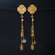 Vintage Venetian Glass Long Dangle Earrings