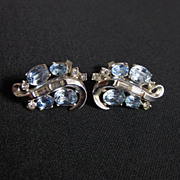 Vintage Signed TRIFARI Silver Tone & Rhinestone Earrings
