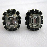 Vintage Signed Liz Palacios Clear Crystal & Black Rhinestone Earrings