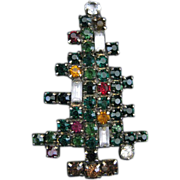Vintage Signed WEISS Three Candle Christmas Tree Brooch