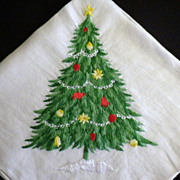 Vintage Embroidery Christmas Tree Handkerchief