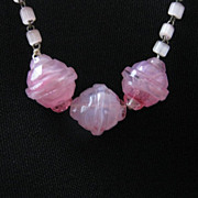 Vintage Pink Swirl Glass Bead Czech Necklace