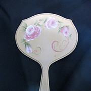 Vintage Hand Painted French Ivory (Celluloid) Vanity Mirror