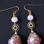 Vintage Wedding Cake Glass Bead Earrings