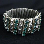 Vintage Art Deco Machine Age Goldtone & Rhinestone Expansion Bracelet