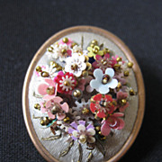Antique Hand Wired Flower & Bead Brooch on Silk