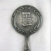 Vintage Art Nouveau Era Silverplate Advertising Miniature Hand Mirror