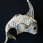 Vintage Signed CINER Sterling Silver Fish Brooch