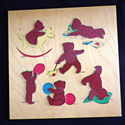 Vintage Simplex Teddy Bear Wood Puzzle