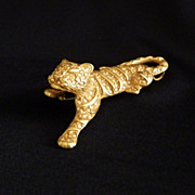 Vintage Gold Tone Big Cat Brooch or Pendant