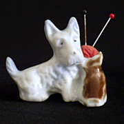 Vintage Bone China Figural Scottie Dog Pin Cushion