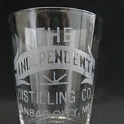 "Antique Hand Etched Advertising Shot Glass - ""The Independent Distilling Co."""