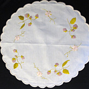 Antique Victorian Society Silk Embroidery Strawberry & Flower Doily
