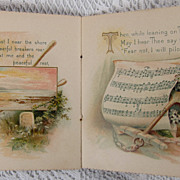 Wonderful Antique Victorian Gift Booklet Life's Sea Color Chromos Sea Boats Anchor Seashells .