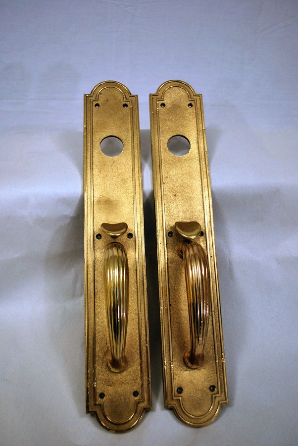 Antique Brass Double Door Plate Handles,Rich Beautiful Patina