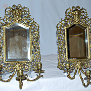 Mirrors Matching Pair ,Ornate Brass ,Beveled Mirror & Candle Holders