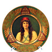 Vienna Art Plate Tin Lithograph Advertising:  Lady in Red Hat