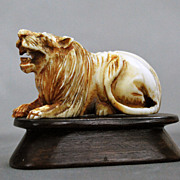 Chinese Carved Ivory Lion on Stand Netsuki