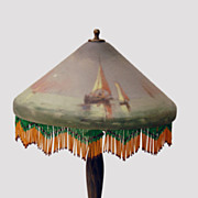 Art Glass Table Lamp - Reverse Painted Glass with Ships