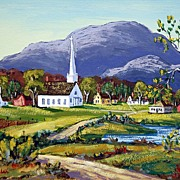 Water Color Painting New England Village Scene Steeple Church Signed Alfred Fuller