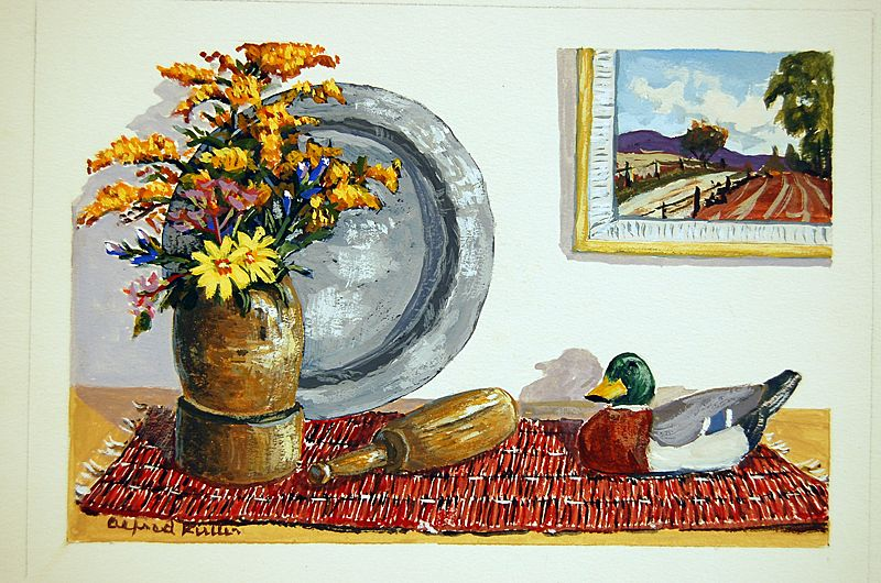 Still Life Water Color Country Table Scene Maine Artist Alfred Russell Fuller