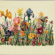 Flower Garden Painting  by Listed Maine Artist Beautiful Flowers & Butterfly