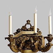 Wall Sconce Bronze Rococo Large 3 Candle Light