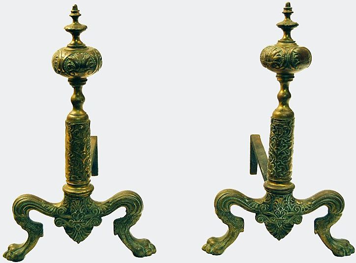 Bronze Fireplace  Andirons Paw Feet Small Size