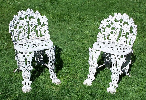 Garden Chairs Cast Iron Matching Pair
