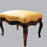 Footstool Carved Mahogany Upholstered Silk