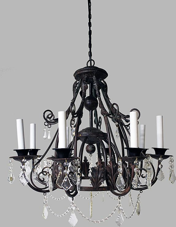 Chandelier Iron & Crystal European