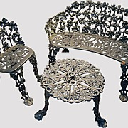Garden Cast Iron Bench Chair Table
