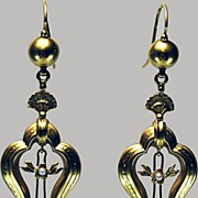 Earrings 15 kt Gold   Victorian Dangle with Pearl