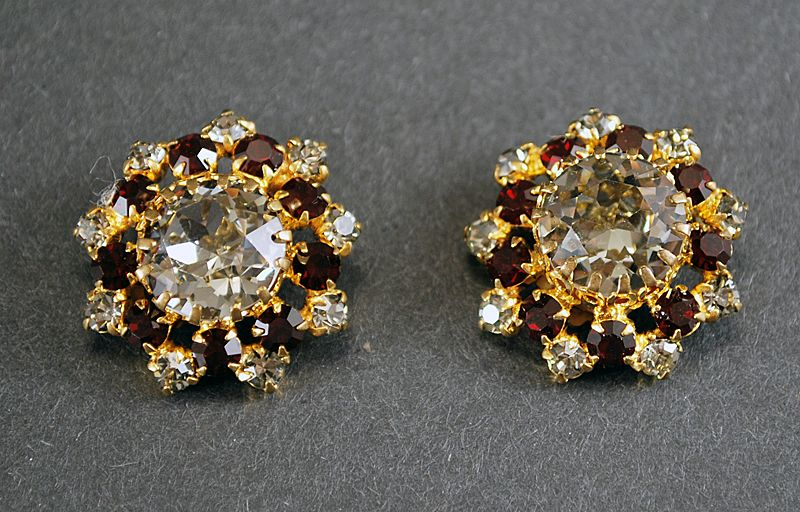 Earrings Austrian Crystal Ruby & White Sapphire Colors