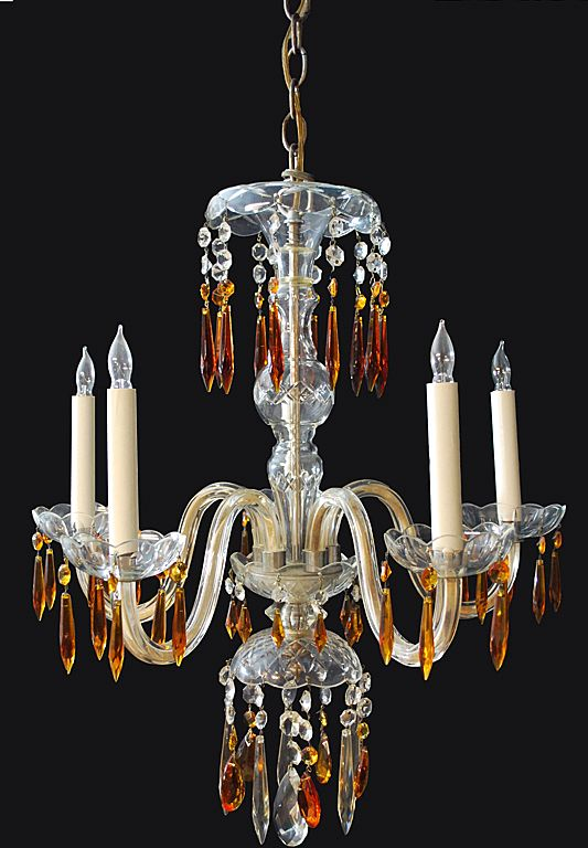 Crystal Chandelier  with Amber Prisms