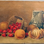 Oil Painting Still Life Strawberries & Oranges Signed