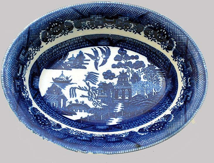 Blue Willow Bowl Smudged Blue Japan