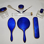 Vanity Set Sapphire Blue Enamel Brush Mirror Shoe Horn Perfume Etc