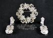 Brooch / Pin & Earrings Sterling & Marcasites Signed by Maker