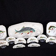 Fish Serving Set Platter Plates & Bone Dishes