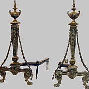 Fireplace Andirons Brass with Garland Drape Classical
