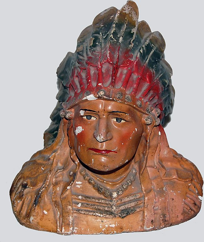 American Indian Bust of a Cheif Victorian Plaster