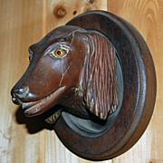 Dog Head Portraits Carved Walnut ,Hunting Dogs ,Glass Eyes Wall Plaques