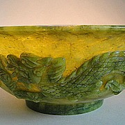 Carved Jade Bowl with Dragons & Birds of Paradise